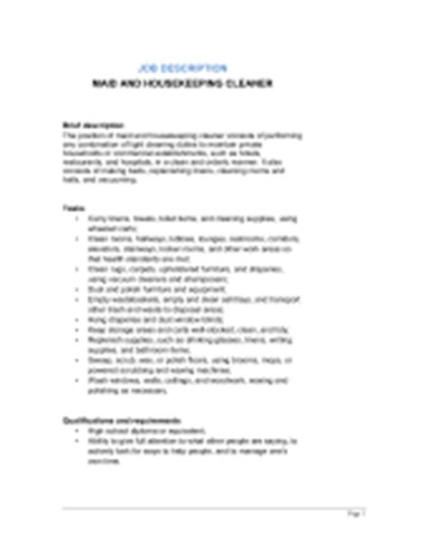Cleaner Description Resume by Janitor And Building Cleaner Description Template