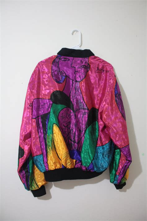 colorful windbreakers vintage 80s 90s pablo picasso print colorful