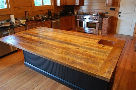 Made Countertops - custom made reclaimed oak counter top by gleman sons