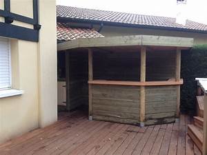 terrasse bois merbau piscine bois cuisine dete anglet With cuisine d ete en bois