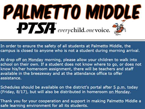 day school closed campus palmetto middle school ptsa