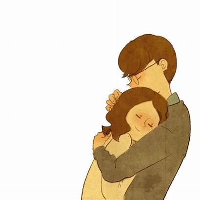 Hug Couple Puuung Gifs Tenor Cartoon Illustration