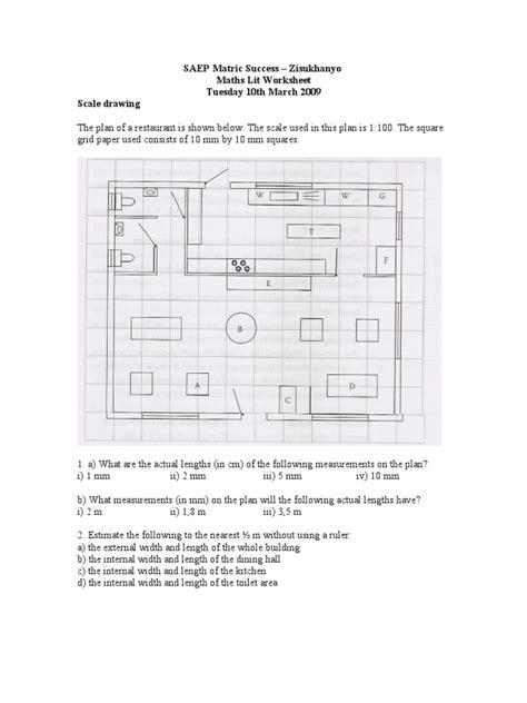 Maths Lit Worksheet  Scale Drawing