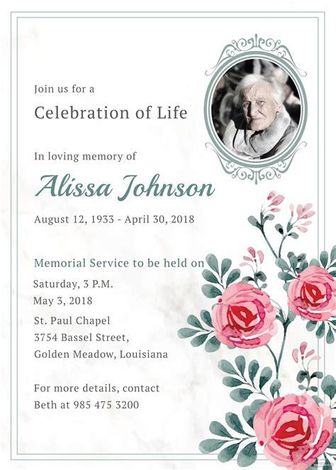 memorial service invitation template  adobe illustrator