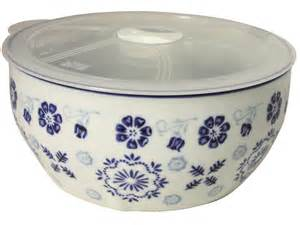 kitchen canisters white early plum blossoms blue and white ceramic bowl with microwavable lid