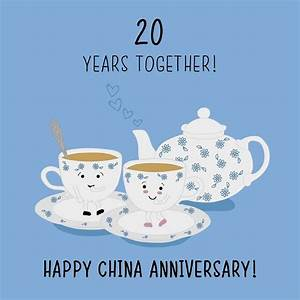 20th wedding anniversary card china anniversary With china gift ideas 20th wedding anniversary