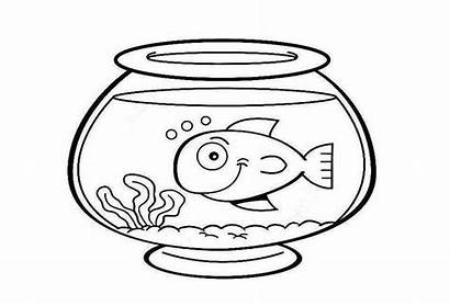 Fish Bowl Coloring Clipart Drawing Pages Printable