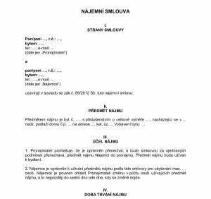 Smlouva o pronájmu nebytových prostor podle nového občanského zákoníku