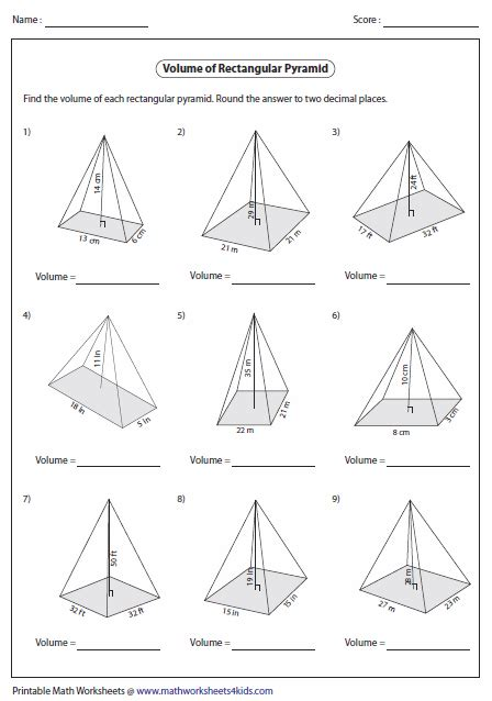 volume of pyramid worksheet volume worksheets