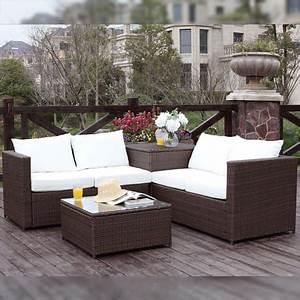 Salon Detente Jardin : silang marron blanc salon de jardin en r sine tress e 4 ~ Premium-room.com Idées de Décoration