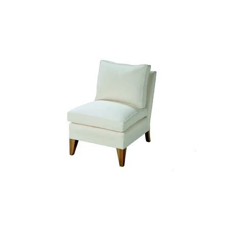 custom made armless upholstered side chair by oak and