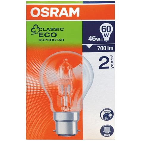 osram eco classic halogen light bulbs 46w 3 for 2 pack