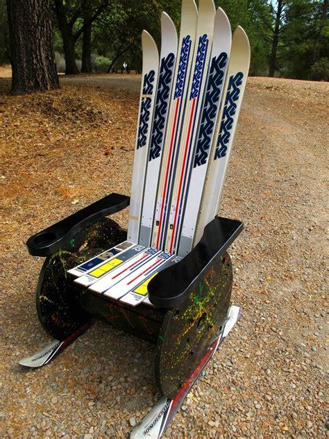 hand crafted upcycled adirondack ski chair  naked tree