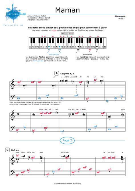 si鑒e piano partition piano maman louane emera partitions noviscore