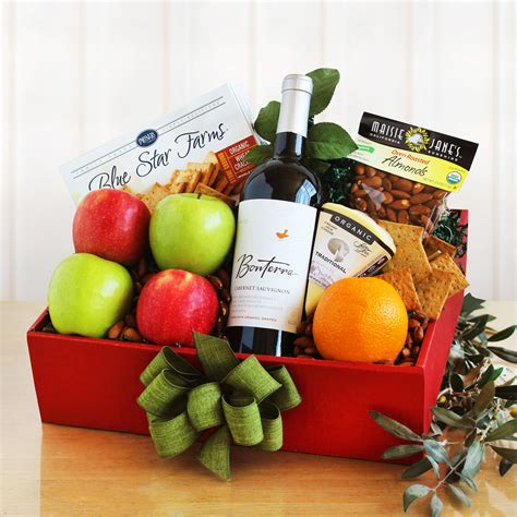 organic gift baskets organic gift basket with wine fruit and nuts wine