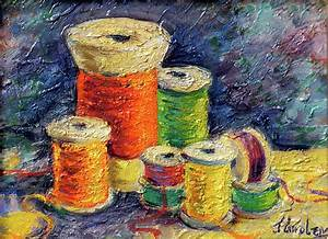 Spools Of Thread Painting By Jean Groberg
