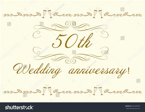 50th Wedding Anniversary Invitation Beautiful Vector Stock
