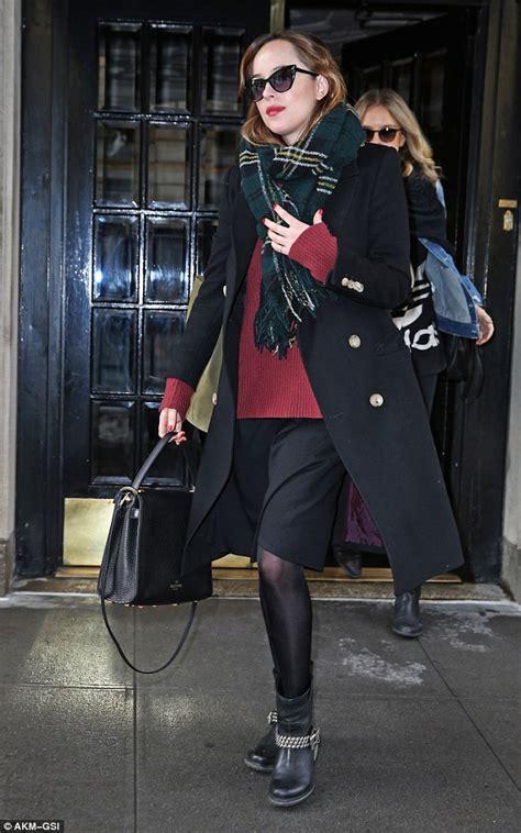 dakota johnson boots skirt studded york shoes steps january hotel