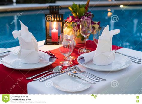 Poolside Dinner by Poolside Dining Stock Image Image Of Dinner Candle