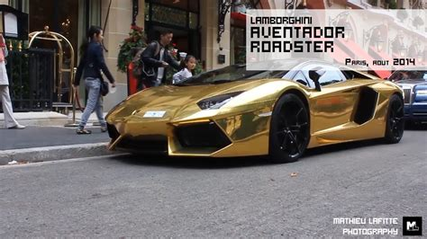 A Golden Lamborghini by A Golden Lamborghini Aventador Roadster