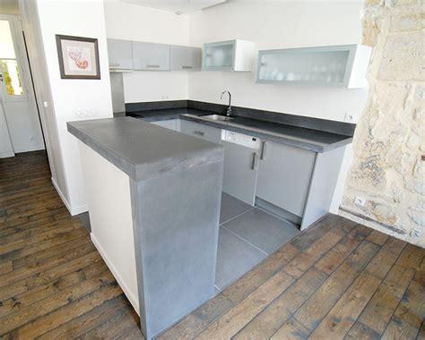 plan de travail en béton ciré cuisine galerie taporo eau feu plan de travail de cuisine et