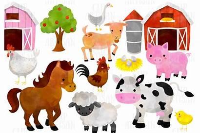 Farm Animals Clipart Watercolor Horse Chicken Pig