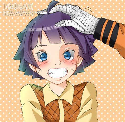 senyum himawari  pegang oleh naruto uzumaki boruto