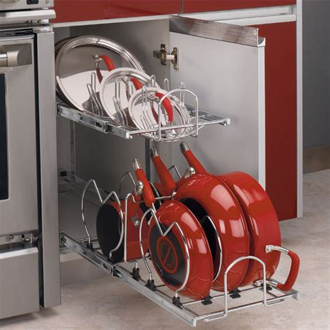 kitchen storage cabinets for pots and pans two tier pots pans and lids organizer for kitchen cabinet