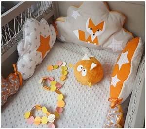 Lit Bebe Nuage : tour de lit b b nuage renard orange gris et blanc ~ Teatrodelosmanantiales.com Idées de Décoration