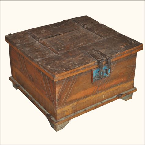 distressed trunk coffee table reclaimed old wood distressed rustic square storage trunk