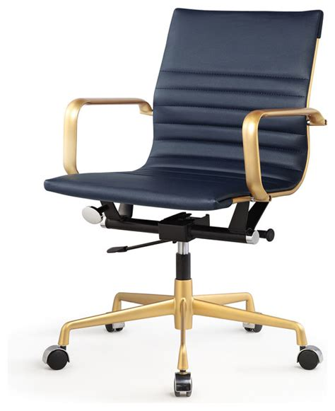 vegan leather office chair navy and gold