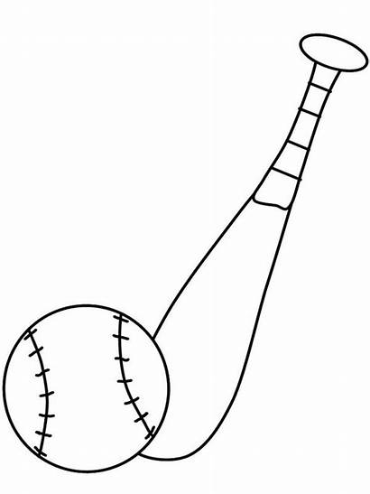 Bat Baseball Coloring Ball Pages Clipart Template