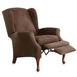 Sure Fit Stretch Suede Recliner Slipcover Wing Chair