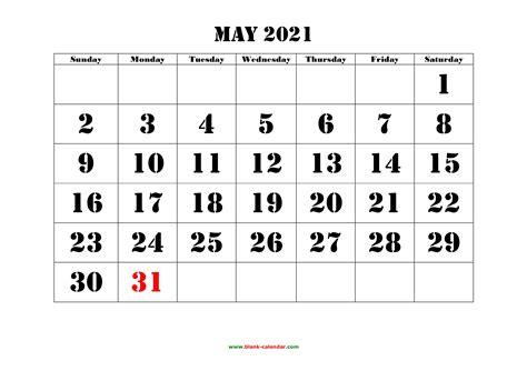 printable   calendar large font