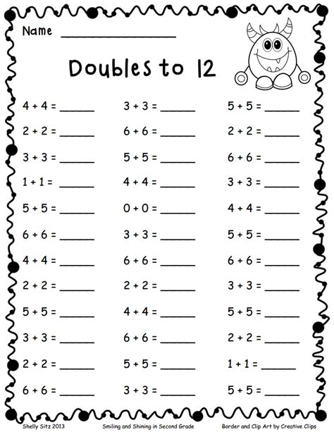 doubles to 12 pdf math math school and