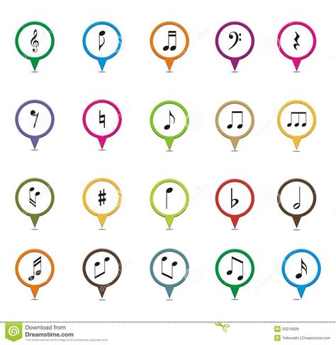 Set Of Music Note Pointer Royalty Free Stock Images