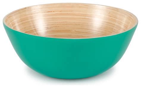 blue bouquet salad serving bowl traders and company lacquered bamboo aqua blue sm salad