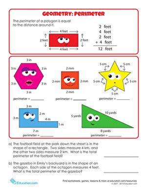 geometry basics perimeter worksheet education com