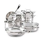 emeril   clad chefs stainless steel cookware  piece set cookware set stainless steel