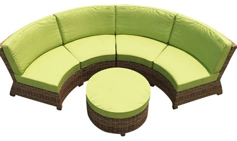 cypress 3 curved patio sectional set kiwi cushions
