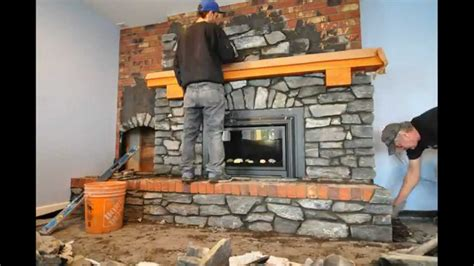 Fireplace Recovering With Stone Living And Dining Room Paint Colors Decorating Wall Small Designs With Leather Furniture Yellow Orange Objects In The Drapery Ideas Pop Ceiling Design For