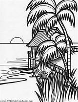 Sunset Coloring Pages Ocean Tropical Island sketch template