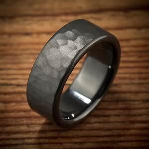 men39s wedding band hammered comfort fit interior black With hammered mens wedding ring