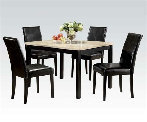 Portland Transitional Style Black Dining Set White Faux