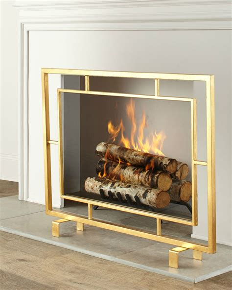 gold fireplace screen light up your with these modern fireplace tools