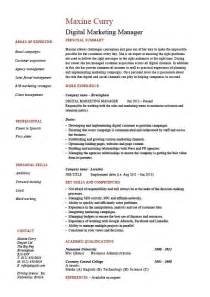 marketing manager resume digital marketing manager cv template exle vacancies salary employment agency