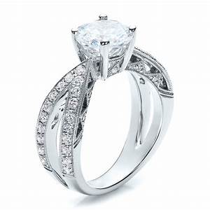Split shank diamond engagement ring vanna k 100110 for Split shank engagement ring with wedding band