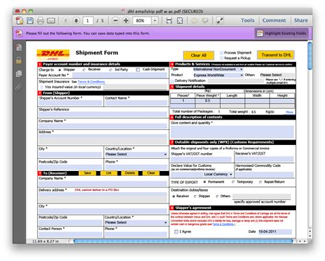 dhl shipment waybill form air waybill form pdf