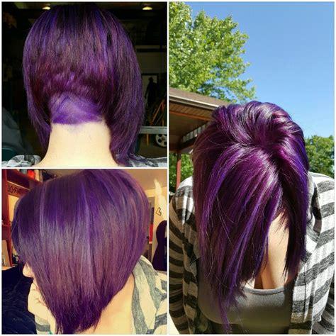 Purple Hair Bob Undercut Long bob haircuts Undercut