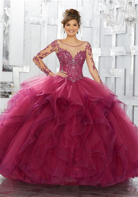 beaded embroidery  net  flounced tulle ball gown